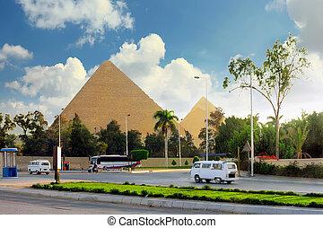 nagy, city., kairó, egypt., piramis