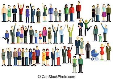 nagy csoport, emberek