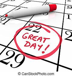 nagy, dátum, bekerített, könyvjelző, naptár, nap, piros