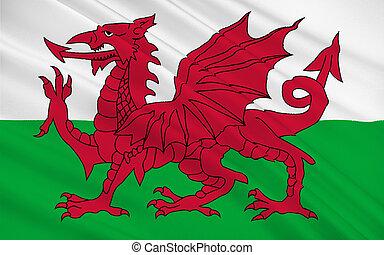 nagy, egyesült, ország, britain, királyság, lobogó, wales