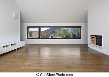 nagy, eleven, ablak, kandalló, szoba