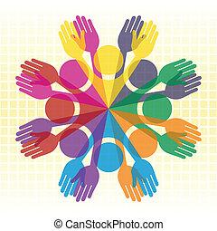 nagy, emberek., színes, csoport