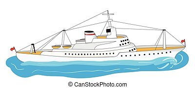 nagy, fehér, hajó