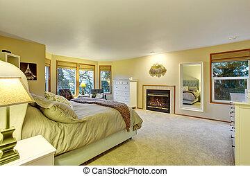 nagy, fireplace., fiatalúr, hálószoba