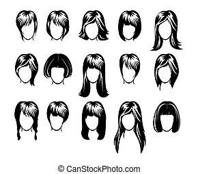 nagy, frizura, gyűjtés