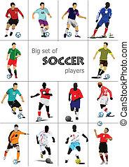 nagy, futball, állhatatos, players., színezett