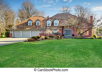 nagy, hagyományos, amerikai, driveway., otthon