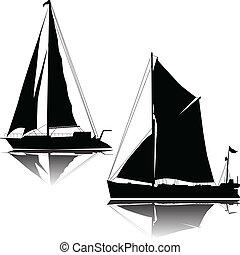 nagy, hajó, két, vitorlázás