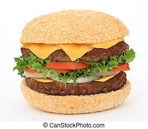 nagy, hamburger, elszigetelt, white
