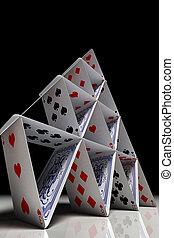 nagy, kártya, épület