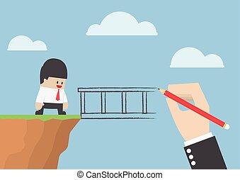 nagy kezezés, rajz, egy, bridzs, helyett, segítség, üzletember, to kereszteződnek, szakadék