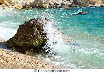 nagy lenget, törő, képben látható, a, tengerpart