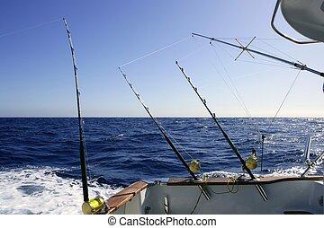 nagy, mély, játék, halászat, tenger, csónakázik