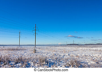 nagy megtölt, alatt, tél, hó terep