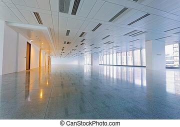 nagy, modern, üres, emelet