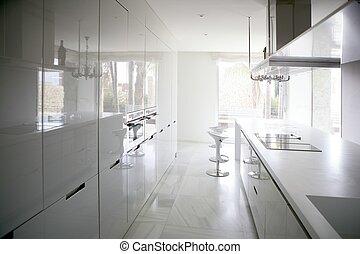 nagy, modern kortárs, fehér, konyha