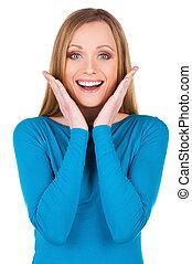 nagy, news!, gyönyörű, fiatal, mosolyog woman, külső külső fényképezőgép, és, gesztus, időz, álló, elszigetelt, white