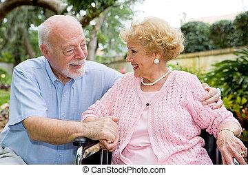 nagy, párosít, idősebb ember, rokonság