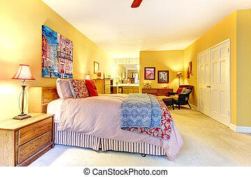 nagy, piros, ágy, sárga, hálószoba