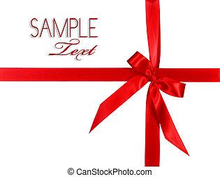 nagy, piros, ünnep, íj, csomag, white, háttér