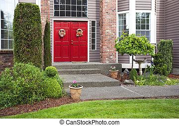 nagy, piros ajtó, noha, nagy, belépés, alatt, egy, nagy, épület