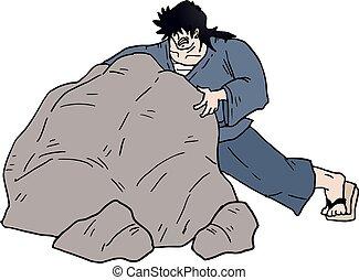 nagy, rámenős, ember, kő
