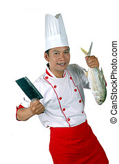 nagy sínheveder, séf, nyers, birtok, kés, konyha