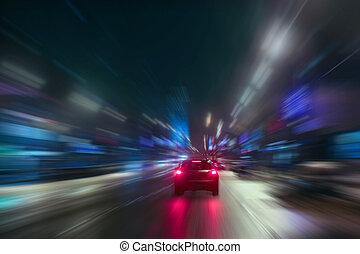 nagy sebességű, mozgalom, éjszaka
