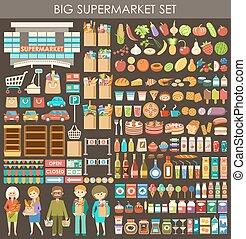 nagy, set., vektor, élelmiszer áruház