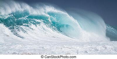 nagy, törő, óceán lenget