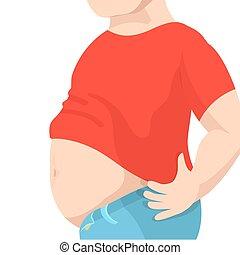 nagy, túlsúlyú, potroh, ábra, kövér, vektor, belly., ember