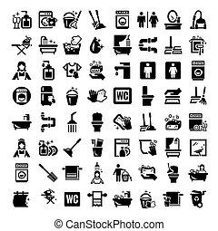 nagy, takarítás, ikonok, állhatatos