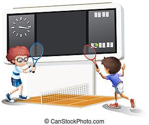 nagy, tenisz, eredményjelző tábla, 2 fiú, játék