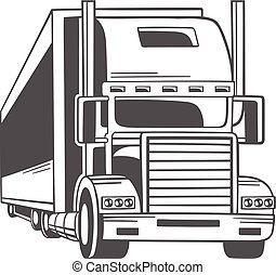 nagy, truck., vektor, illustration.