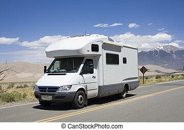 nagy, vezetés, dűnék, nemzeti park, rv, homok