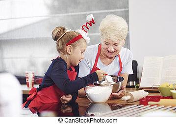 nagyanyó, tanítás, neki, unoka, hogyan, to gyártmány, egy,...