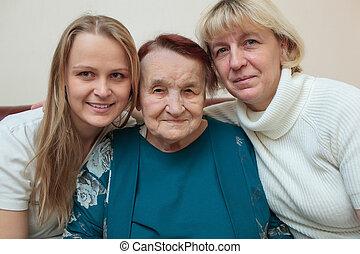 nagyanya, anya, lány, család portré