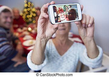 nagyanya, fénykép, bevétel, modern, család