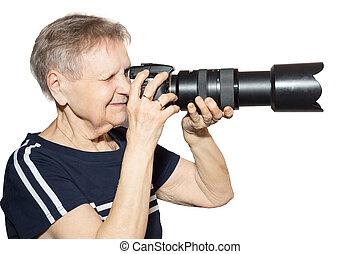 nagyanya, noha, egy, fényképezőgép