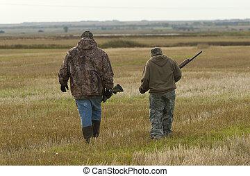 nagyapa, és, fiúunoka, vadászat