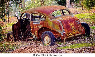 nagyon, autó, öreg, kopott