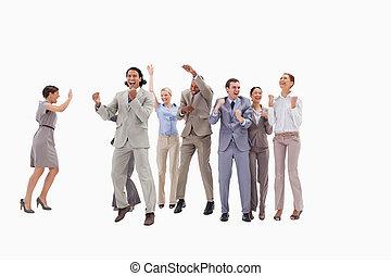 nagyon, boldog, ügy emberek, ugrás, és, ökölbeszorító, -eik,...