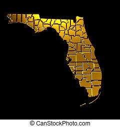 nagyon fontos személyiség, jelkép, florida, counties., arany-, térkép
