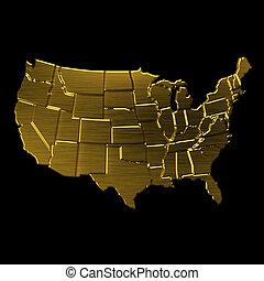 nagyon fontos személyiség, jelkép, usa, arany-, states., térkép