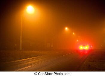 nagyon, ködös, út, éjszaka
