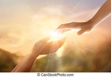 nagypéntek, kereszt, kéz, ételadag, háttér., fogalom, napnyugta, emlékezés, fehér, god's, nap