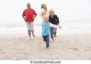 nagyszülők, és, unokák, futás, képben látható, tél,...