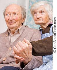 nagyszülők, öreg, boldog
