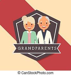 nagyszülők, nap, emberek
