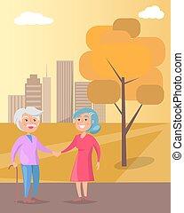 nagyszülők, párosít, együtt, jár, idősebb ember, nap, boldog